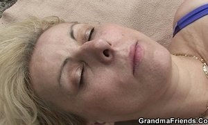 blonde mature  cock  cum swallowing  grandma  old cunt  outdoor sex